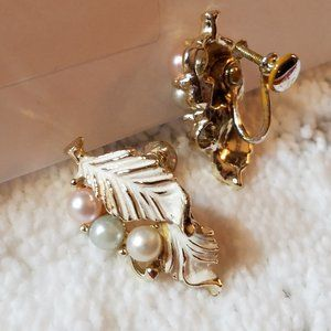 Rare Luxurious! Vintage Earrings Screw Backs